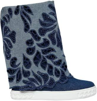 Casadei 80mm Laser-Cut Denim Wedge Sneakers