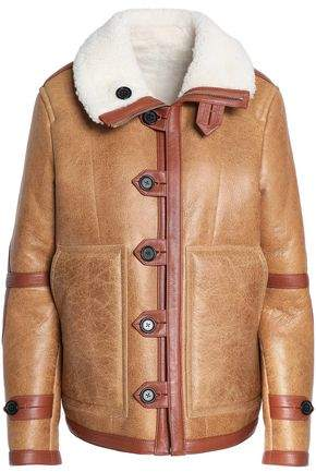 Reversible Shearling-Trimmed Cracked-Leather Coat