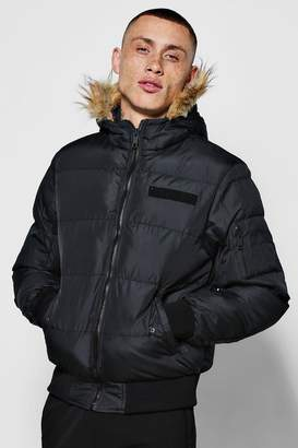boohoo Quilted Jacket With Oversized Faux Fur Hood