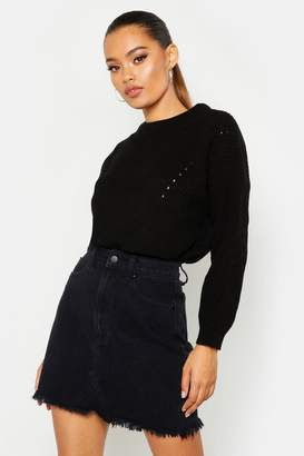 boohoo Open Knit Turtle Neck Sweater