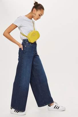 Topshop PETITE Dark Blue Wide Leg Jeans