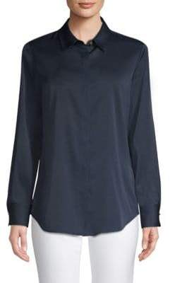 Donna Karan Roll Tab Stretch-Silk Button-Down Shirt