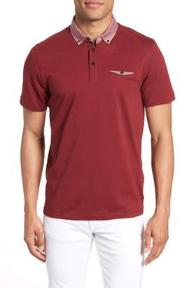 Ted Baker Movey Trim Fit Woven Geo Polo