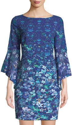 T Tahari Floral Mini Dress w/ Flared Sleeves