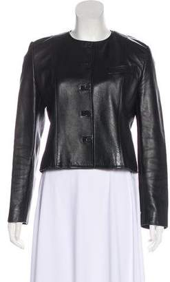 Burberry Collarless Leather Jacket
