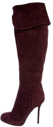 Sergio Rossi Suede Knee-High Boots