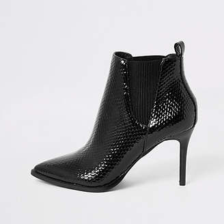 River Island Black patent embossed pointed toe boots