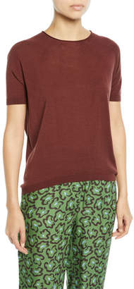 Christian Wijnants Kyoko Silk Round-Knit Crewneck Tee, Dark Red