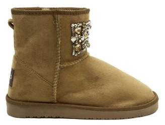 BLUE SUEDE SHOES Blue Women's 'Ugena Gogo' Mid Calf Suedette Pull On Boots-CAMEL-10