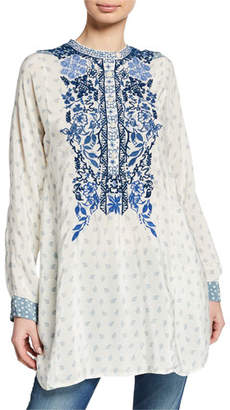 Johnny Was Galatia Embroidered Silk Tunic with Contrasting Cuff Detail
