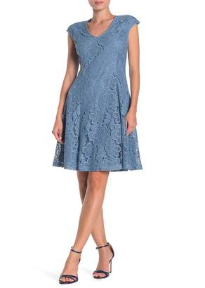 London Times Lace V-Neck Fit & Flare Dress