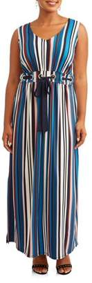 Paperdoll Women's Plus Size Sleeveless Multi Stripe Maxi with Grommet Detail