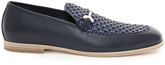 Jimmy Choo MARTI Navy Woven Fabric and Aqua Leather Loafers