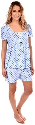 Patricia from Paris Women's Pajama Shorts Set Short Sleeve Knit Loungewear ( Print, M)