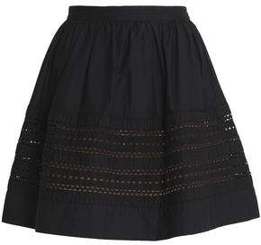 efb4ae27c6 COM · RED Valentino Flared Broderie Anglaise-Paneled Cotton Mini Skirt