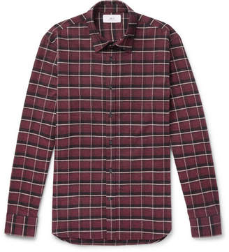 Mr P. - Checked Brushed Cotton-Flannel Shirt - Red