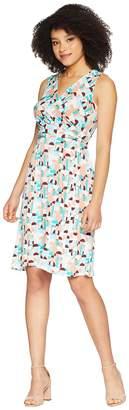Donna Morgan Sleeveless Printed Jersey Faux Wrap Dress Women's Dress