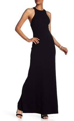 Vera Wang Accent Back Sleeveless Fitted Gown