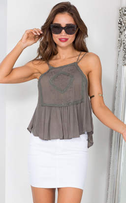 Showpo Short Story Top in Khaki