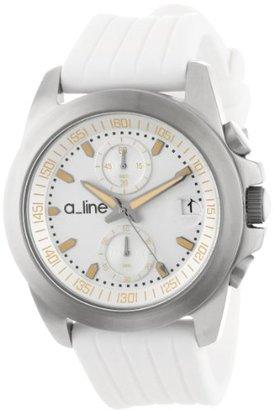 A Line A _ LINE Women 's 80010 – 02-wh Arohaクロノグラフシルバーダイヤルホワイトシリコン腕時計