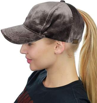 4e7e0122dad C.C Ponycap Messy High Bun Ponytail Soft Velvet Adjustable Baseball Cap Hat