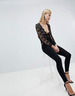 Rare London long sleeve lace plunge jumpsuit