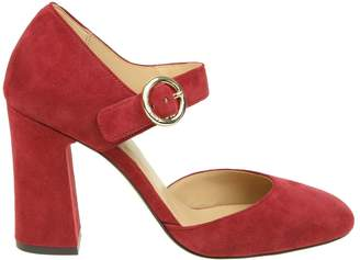 Michael Kors Decollete 'alana Closed Toe In Suede Cherry Color