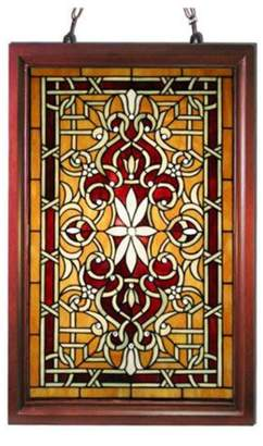 Warehouse of Tiffany Tiffany-style Wood Frame Stained Glass Window Panel