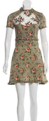 The Kooples Printed Embellished Mini Dress