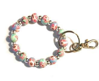 Calypso Wrist Keychain Bracelet Wristlet Handmade Clay Beads