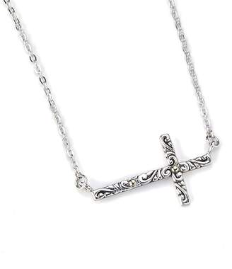 "Samuel B Jewelry Sterling Silver & 18K Gold Cross Bar 18\"" Chain Necklace"