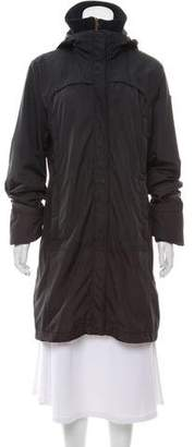 Post Card Knee-Length Hooded Coat