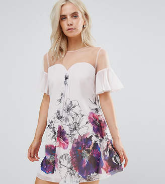 Little Mistress Petite Floral Printed Shift Dress With Fluted Sleeves