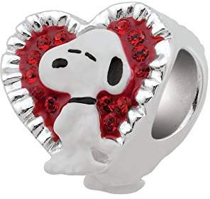 Persona Sterling Silver Peanuts Valentine Snoopy Bead Charm