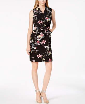 Calvin Klein Belted Floral-Print Wrap Dress