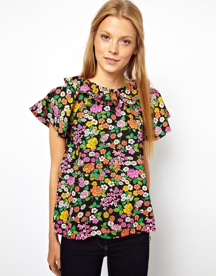 Asos Blouse With Ruffle Sleeve In Folk Flower Print