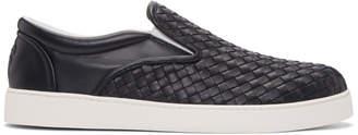 Bottega Veneta Navy Intrecciato Dodger Slip-On Sneakers