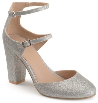 Brinley Co. Women's Faux Leather Glitter Double Strap Chunky High Heels