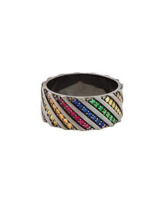 Lana Electric Rainbow Sapphire Band Ring in 14K Black Gold
