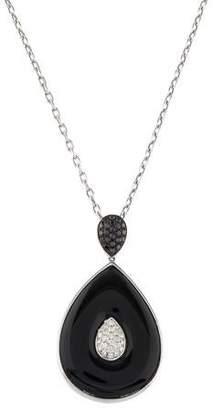18K Onyx & Diamond Pendant Necklace