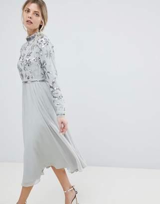 Asos Design Floral Embellished Bodice Long Sleeve Midi Skater Dress