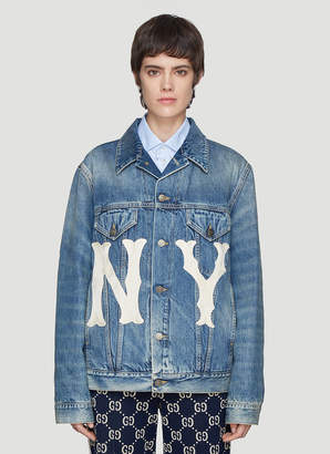 Gucci NY Patch Denim Jacket in Blue