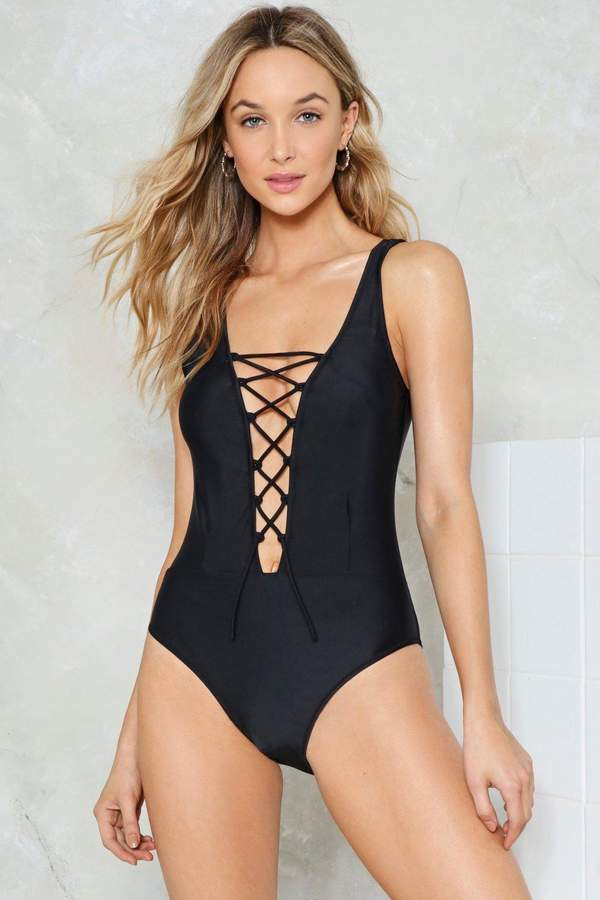 nastygal Crossed Out Lace-Up Swimsuit