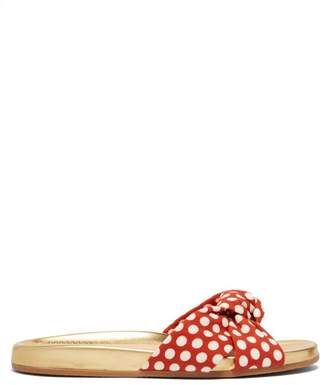 Charlotte Olympia Polka Dot Print Knotted Canvas Slides - Womens - Red Multi