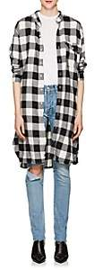 NSF Women's Pepper Checked Cotton Flannel Oversized Shirt-White