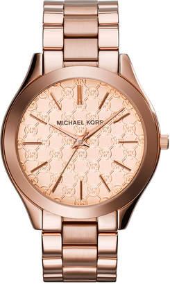 MICHAEL Michael Kors 42mm Runway Monogram Bracelet Watch, Rose Golden