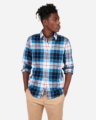 Express Slim Plaid Button-Down Soft Wash Shirt