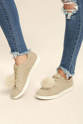 Madden Girl Baabee Nude Suede Pompom Sneakers $49 thestylecure.com