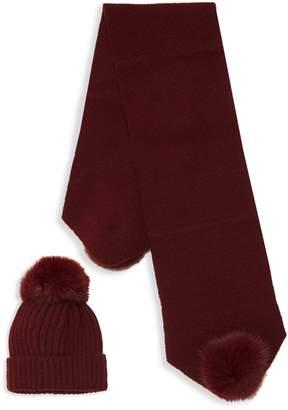 La Fiorentina 2-Piece Dyed Fox Fur-Trim Beanie & Scarf Set