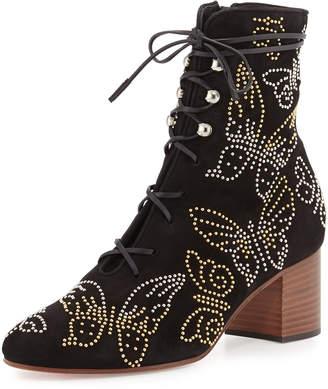 Valentino Garavani Butterfly-Studded Lace-Up Boots